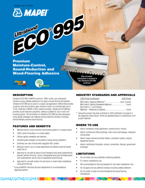 Fillable Online Ultrabond ECO 995 - Mapei International Fax Email
