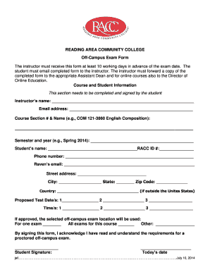 raeding area community college test proctor form