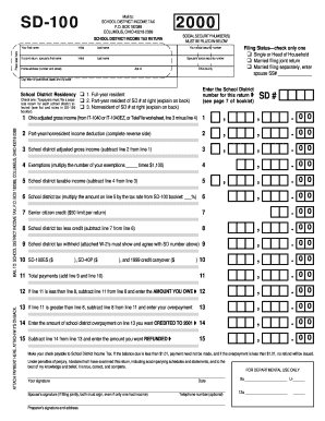 Fillable Online SD 100 School District Income Tax Return Fax Email ...