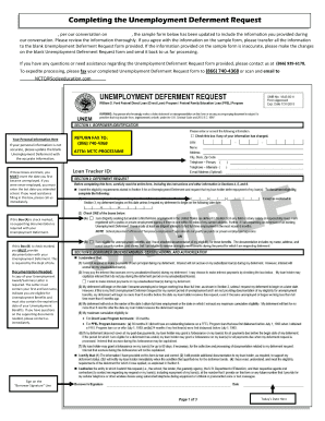 Fillable Online relief nctc Download Unemployment Deferment