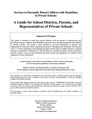 Private Placement Memorandum Sample. Guide For School Districts Parents And  Representatives Of Private Schools Services To Parentally Placed Children  With