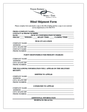 Fillable Online Blind Shipment Form - Vision Express / Wrag-Time ...