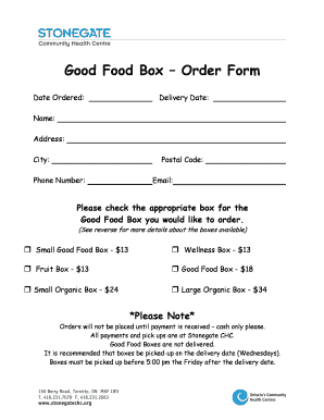 Fillable Online stonegatechc Order Form for the Good Food