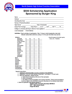 $500 Scholarship Application Sponsored by Burger King - ndhsca