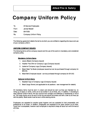 Employee uniform policy related keywords employee for Company email policy template
