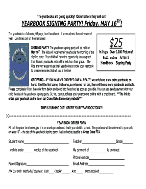 Yearbook Signing Party Flyer & Order Form