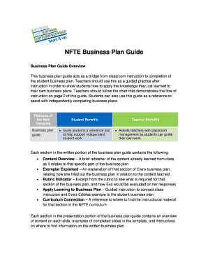 Fillable Online Chicagoagr NFTE Business Plan Guide Chicago High - Nfte business plan template