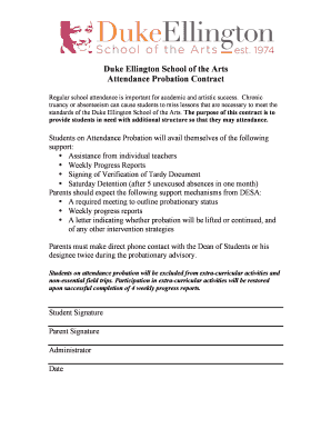 Fillable Online ellingtonschool Attendance Probation Form