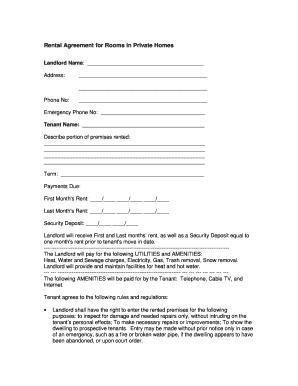 Complete Printable 10 Sample Home Rental Agreement Forms