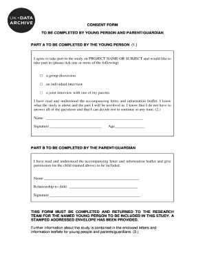 Example consent form: participation of children - UK Data Archive