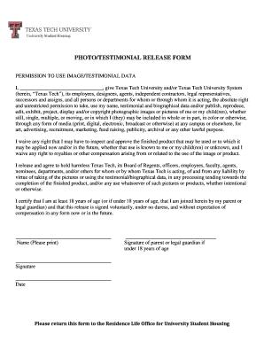 Fillable Online housing ttu Photo/testimonial release form ...