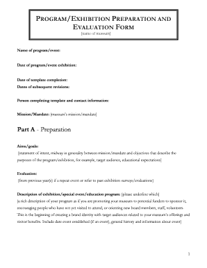 PROGRAM/EXHIBITION PREPARATION AND EVALUATION FORM   Creativecity