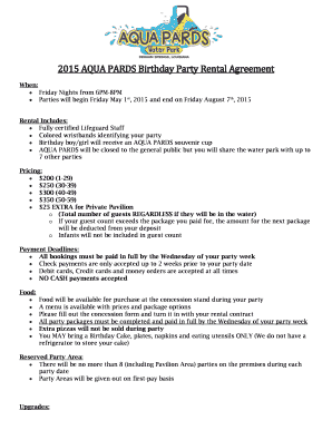Fillable Online 2015 AQUA PARDS Birthday Party Rental Agreement