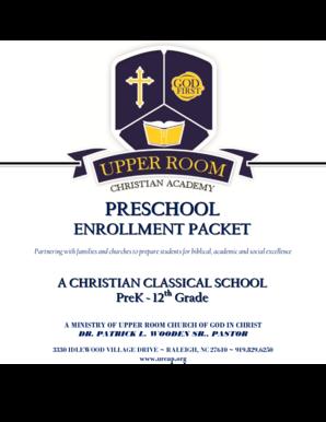 Fillable Online urcap PRESCHOOL - Upper Room Christian Academy ...