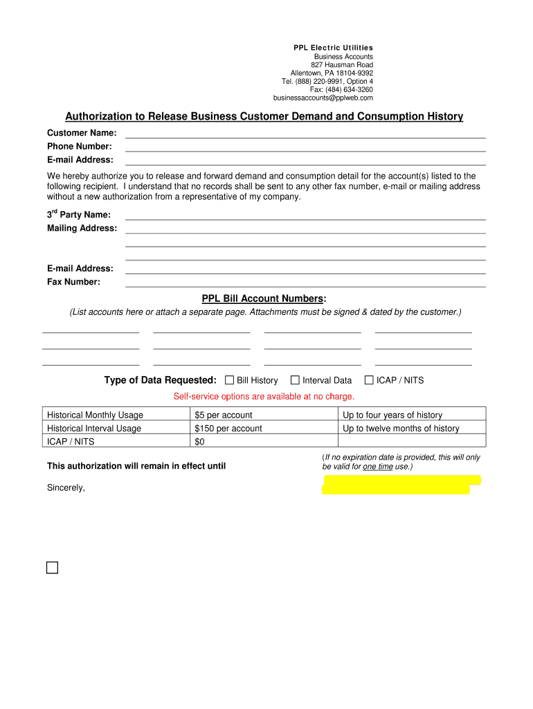 Authorization Bformb Ppl Electric Utilities Fill Online Printable
