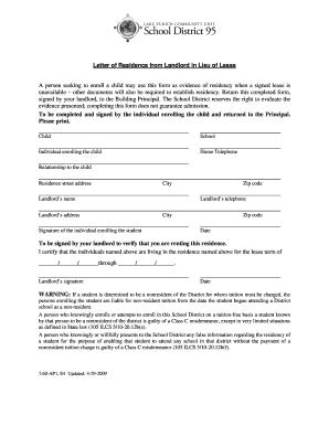Letter Of Residence From Landlord from www.pdffiller.com