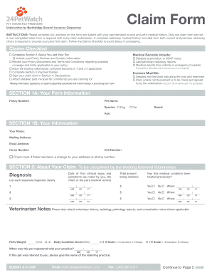 24petwatch claim form 24 Hr Petwatch - Fill Online, Printable, Fillable, Blank | PDFfiller