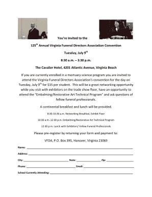 mortuary science student invitation virginia funeral directors - Resume For Mortuary Science