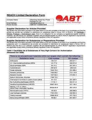 Fillable Online REACH Limited Declaration Form - abtbatt Fax Email ...