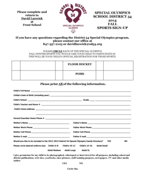 Exevatar fill online printable fillable blank pdffiller 2014 fall registration form sd54 special olympics school specialolympics sd54 fandeluxe