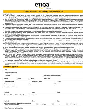Fillable Online World Traveller Care Takaful Application