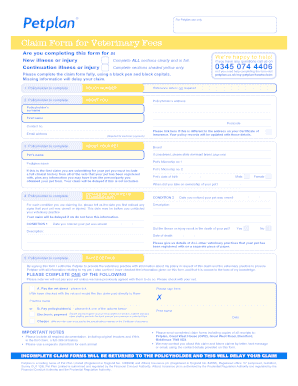 Fillable Online petplan co Claim Form for Veterinary Fees ...