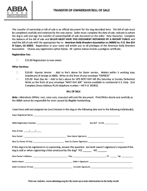 Transfer of Ownership Form - American Bully Breeders Association