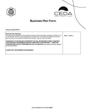 ceda business plan fill online printable fillable blank pdffiller