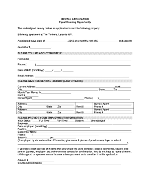Bill of sale form wyoming rental application form for Housing rental application template