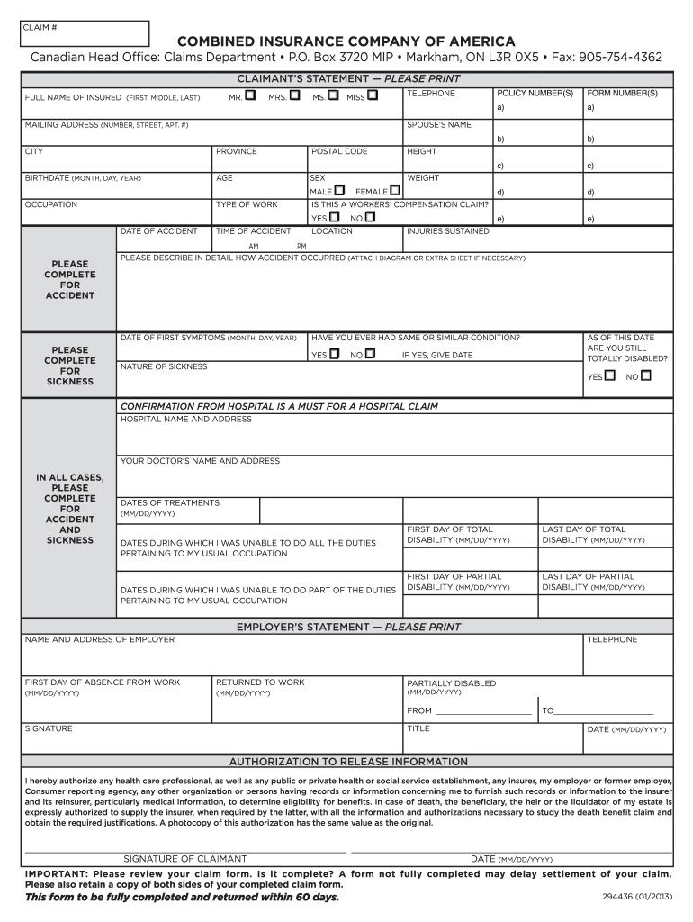 Combined Insurance Company of America 294436 2013 - Fill ...