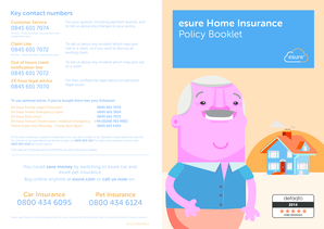 Esure Claims Number >> Fillable Online Key Contact Numbers Esure Home Insurance