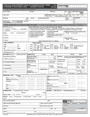 physical examination form filled out