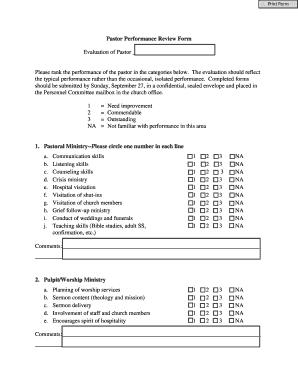 Pastor Performance Review Form - nwdlcms