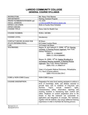 Fillable Online laredo NURA 1401 NC5 Nurse Aid for Health Care - N ...