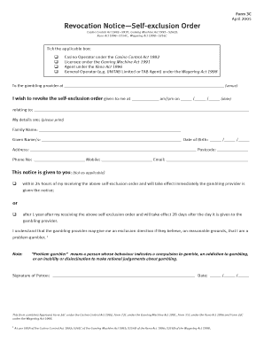 Self exclusion form