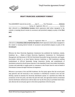 Franchise Agreement Form   Fillable Online Forumofregulators Gov Draft Franchise Agreement