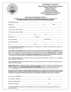 Swimming Pool (Residential) Affidavit Form (PDF) - Gwinnett