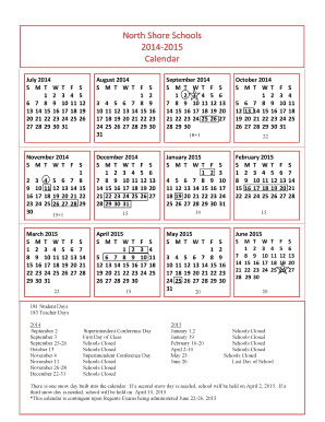 2014-15 School Calendar (short form) - North Shore...