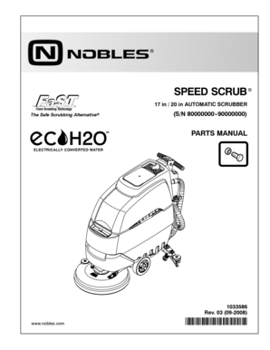 Part manuals for nobles strive rider carpet extractor.