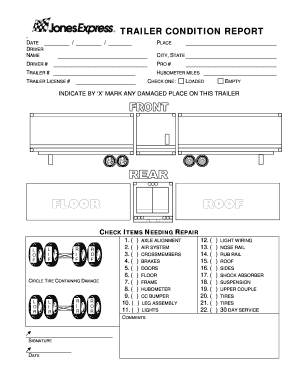 trailer condition report fill online printable. Black Bedroom Furniture Sets. Home Design Ideas