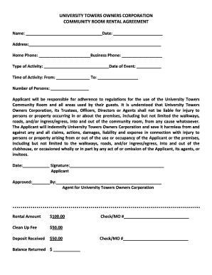 Community Room Rental Agreement Fill Online Printable