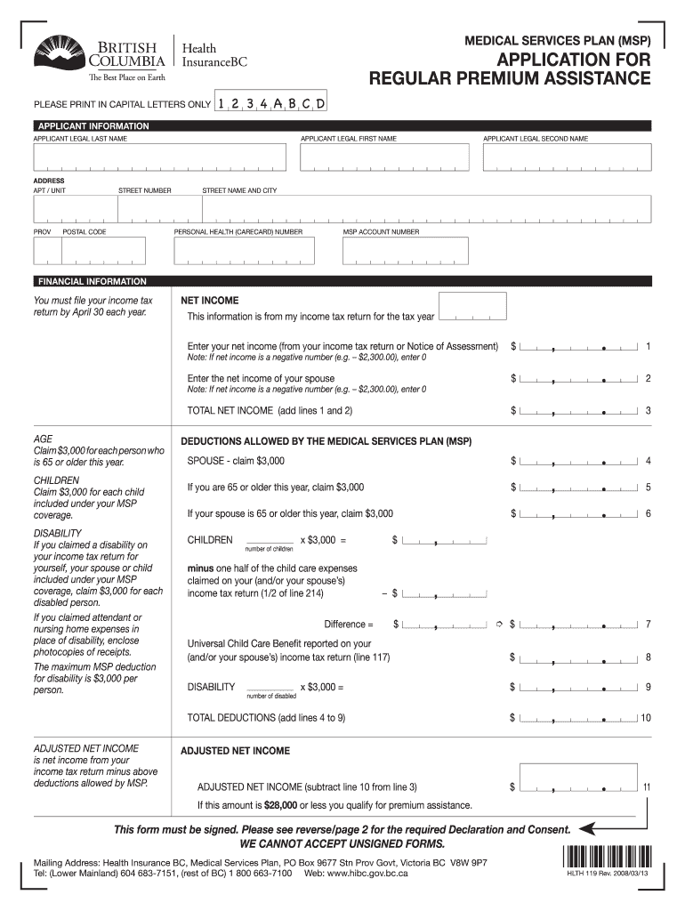 2013 Form Canada HLTH 119 Fill Online, Printable, Fillable ...