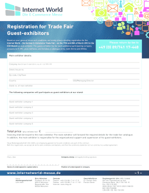 Registration for Trade Fair Guest-exhibitors - Internet World