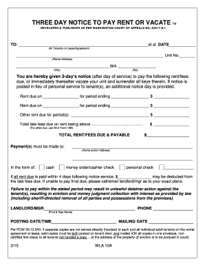 27 printable three day notice to pay rent or vacate forms and