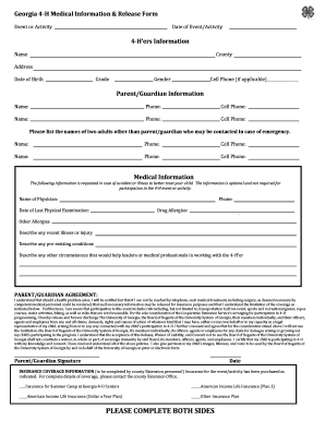 Medical Information U0026 Release Form   Georgia 4 H   Jekyll4h