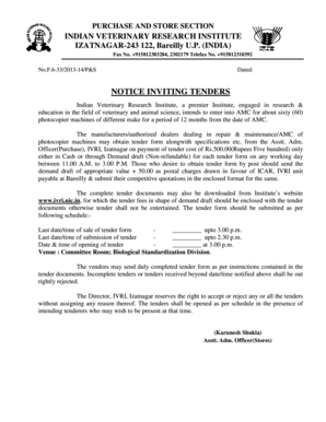 NOTICE INVITING TENDERS - Indian Veterinary Research Institute