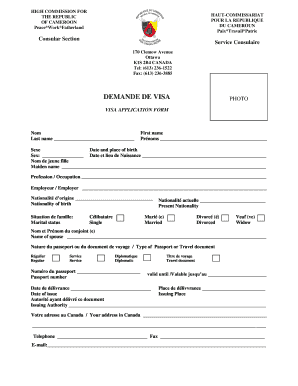 Fillable Online Hc Cameroon Ottawa Visa Application Form Haut Commissariat Pour La Hc Cameroon Ottawa Fax Email Print Pdffiller