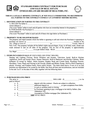 Fillable Online Standard Form Contract For Purchase And Sale