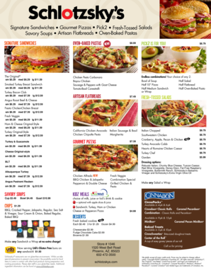 graphic about Schlotzsky's Printable Menu identified as Fillable On the web Fresh new menu 2014 pg1 Generated PDF Fax E mail