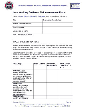 lone working guidance risk assessment form docs csg ed ac